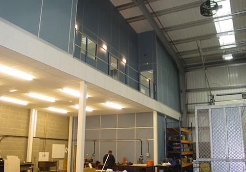 Mezzanine with office suite above